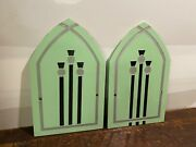 Lot Of 2 Beautiful Vtg Art Deco Etched Seafoam Green Glass Salvage Panel Inserts