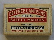 Vintage Defence Canteens Special Safety Matches Match Box Made By Bryant And May