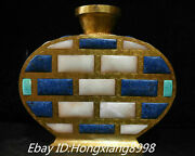 10and039and039 Old China Bronze 24k Gold Inlay Hetian Jade Blue Gem Flat Vase Bottle