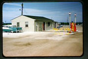 1950's Gas Station Pumps At Lot With New Rambler Cars , Original Slide A6b