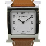 Hermes Heure H Watch White Dial Stainless Steel Leather Strap Hhi.510