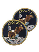 Vintage Apollo 11 Gold Thread Patch Lot - Set Of Two Patches Eagle Moon Landing