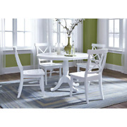 Dining Chair Cross/high Back Solid Wood Easy-to-assemble White Set Of 2