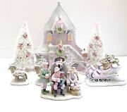 Dept 56 North Pole Santaand039s Rooming House Sleigh Reindeer Shabby Pink Chic Lemax