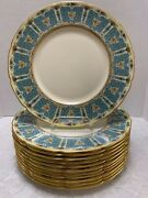 12 Lenox Enameled Antique Service Plates 1445/a302 Blue And Gold On Ivory Scallop