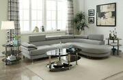 Modern 2pc Sectional Sofa Set Light Grey Faux Leather Sofa Chaise Cushion Couch