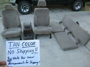 1998 Toyota T100 Lh And Rh Front Bucket Seats And Rear Cloth Seat Set Tan And Console
