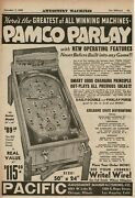 1935 Pacific Pamco Parlay Pinball Machine Horse Racing Bally 2-sided Vintage Ad
