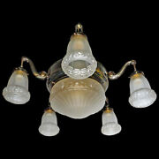 Antique French Art Deco And Art Nouveau Frosted Glass Chandelier