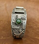 Fred Harvey Navajo Turquoise Whirling Log Stamped Arrows,dog Sterling Watch Cuff