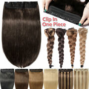 One Piece Weft Clip In 100 Remy Human Hair Extensions Full Head Thick Volume Us