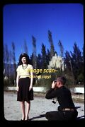 Pretty Woman Usaaf B-24 Man With Camera In Early 1940's, Original Slide G8c