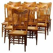 Antique Set Of Twelve Oak Spindle And Pressed Back Dining Cane Seat Chairs C1910