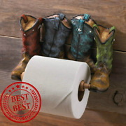 Western Country Style Cowboy Boots Bathroom Toilet Paperholder Rustic Tp Holder