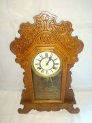 Antique Waterbury Parlor Kitchen Mantle Clock With Chime Clock Works
