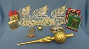 Lot Of 11 Christmas Decorations Theme Of Gold Colors Ornaments Garland