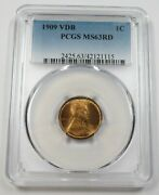 1909-p Vdb Pcgs Ms66rd Red Lincoln Wheat Penny Cent 1c Us Coin Item 28792a