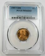 1909-p Vdb Pcgs Ms66rd Red Lincoln Wheat Penny Cent 1c Us Coin Item 28793a