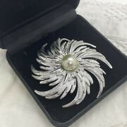 Vintage Sarah Coventry Flower Brooch Huge Textured Silver Tone Spiral Faux Pearl
