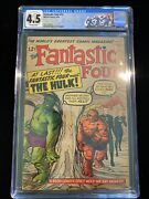 Fantastic Four 12 -marvel 1963 Cgc 4.5 - 1st Meeting Of Fantastic Four And Hulk