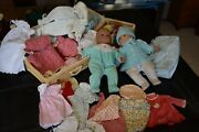 American Girl Pleasant Company 2 Baby Dolls, 2 Trunks Full Clothes And Extras