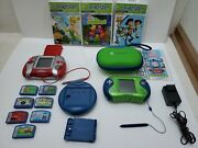 Leapster Leap Frog Learning Game System Lot 2 Consoles, 10 Games Battery Pack