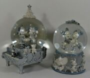 2x Authentic Disney Silver Snow Globes Mickey And Minnie Mouse Winter Wonderland