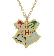 New Harry Potter Deathly Hallows Hogwarts School Crest Pendant Necklace 18 Chain