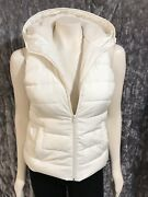 Hollister Womanand039s Juniors White Puffer Hooded Vest Size M Nwot