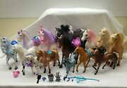 🐎 Mixed Lot Of 14 - Hard Plastic Vintage - Toy Horses With Accessories Mattel