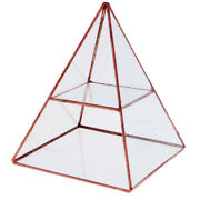 Glass Pyramid Jewelry Stand Box Display Case With Vintage Brass