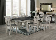 Cottage Style Standard Height Rectangular Table Top 7pc Dining Set Wooden Fabric