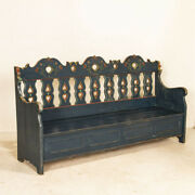 Original Blue Painted Antique Bench With Carved Hearts From Sweden