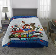 Super Mario Odyssey Twin Full Reversible Comforter Blue Gray 72x86 Excel Cond