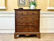 Antique Early 19th Century American Walnut Chest Of Drawers Dresser.