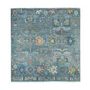 6'x6' Fine Peshawar Willow Tree Design Pure Wool Hand Knotted Square Rug G69299