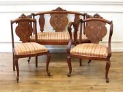 Antique Inlaid Mother Of Pearl Empire Style 3 Piece Parlor Set Settee Arm Chair