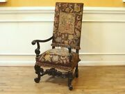 Antique 19th Century Needlepoint Grand Hall Arm Chair Carved Wood Frame With St