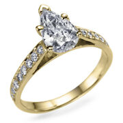 Andpound9750 1.60 Carat Pear Shaped Diamond Ring Teardrop Yellow Gold Si2 51188098