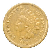 1881 Au Indian Head Cent Exact Coin Free Shipping 7847