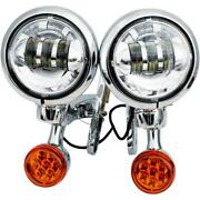 Rivco Products Chrome 4.5in. Led Auxiliary Lights With Turn Signals Mv185