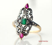 Antique Ring Solid 18k Gold Silver Emerald Ruby Diamonds Andoslash Us8.75 / 3.6g