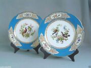 Antique Pair Of French Sevres Hand Painted Porcelain Plates