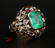 Antique Ring Solid 14k Green White Gold 2ct Emerald 1ctw Diamonds Ø 5 Us / 4.3gr