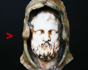Antique Bust Roman Emperor Comodus Natural Marble Chalcedony Stone Bust / 695gr