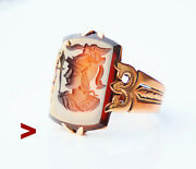 Antique Imperial Russian Minerva Ring Red Onyx Solid 56/14k Gold Andoslashus 5.75 /4.1gr