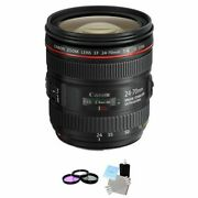 Canon Ef 24-70mm F/4.0 Usm L Is Lens + Uv Kit And Cleaning Kit