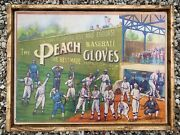 Antique Style Rustic Print On Wood Peach Gloves Baseball Advertisement 18x24