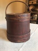1800andrsquos Antique Wooden Bail Handled Firkin In Original Paint And Surface