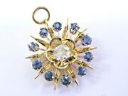 Vintage Old Mine Cut Diamond And Sapphire Yellow Gold Brooch/pendant 1.77ct